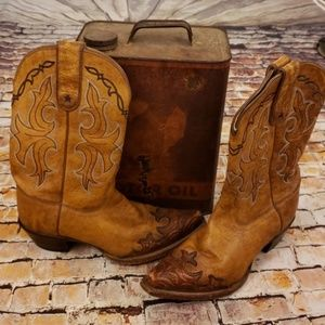 Stamped Leather Western Boots 7